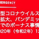 新型コロナウイルス感染拡大、パンデミック禍でのボーナス事情 2020年(令和2年)12月